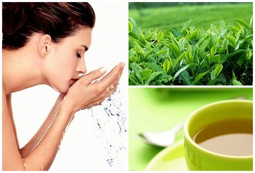 Cách trị mụn ẩn dưới da không để lại vết thâm - rửa mặt bằng trà xanh