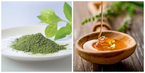 mật ong và bột trà xanh trị mụn